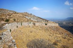 Acrocorinth das Schloss von altem Korinth Stockfotos