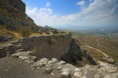 Acrocorinth das Schloss von mittelalterlichem Korinth Stockfoto