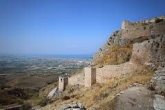 Acrocorinth den forntida Corinthen arkivfoton