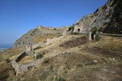 Acrocorinth den forntida Corinthen arkivfoto