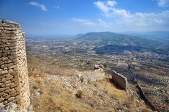 Acrocorinth die Akropolis von Korinth Stockfotos