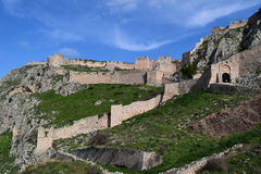 The Acrocorinth fortress, the acropolis of ancient Corinth. Acrocorinth Greek: Ακροκόρινθος, `Upper Corinth`, the acropolis of ancient Corinth, is a Royalty Free Stock Image