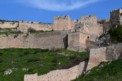 The Acrocorinth fortress, the acropolis of ancient Corinth. Acrocorinth Greek: Ακροκόρινθος, `Upper Corinth`, the acropolis stock image