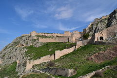 Acrocorinth  fortress, the acropolis of ancient Corinth,. Acrocorinth Greek: Ακροκόρινθος, `Upper Corinth`, the acropolis of ancient Corinth, is a Stock Photos