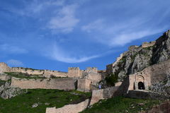 The Acrocorinth fortress, the acropolis of ancient Corinth. Acrocorinth Greek: Ακροκόρινθος, `Upper Corinth`, the acropolis of ancient Corinth, is a Stock Image