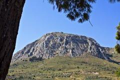 Acrocorinth verstärkte Berg bei Griechenland Stockbild