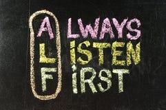 Acronimo di ALF (ascolti sempre in primo luogo) Fotografie Stock