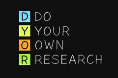DYOR - Do Your Own Research Concept stock photography