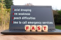 The acronym `FAST`. Is used as mnemonic to help a person having a stroke stock photography