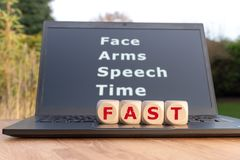 The acronym `FAST`. Is used as mnemonic to help a person having a stroke stock image