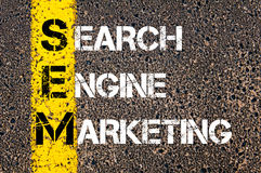 Acronym SEM - Search Engine Marketing. Business Conceptual image with yellow paint line on the road over asphalt stone background stock image