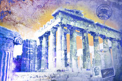 Acropole,希腊 abstact艺术深深数字式红色转动 免版税库存图片