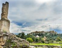 Acropole antique Athènes Grèce d'agora de demi homme de poissons de Triton images libres de droits