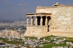 Acropole d'Athènes, l'Erechtheum images stock