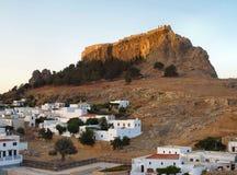 Acropole de Lindos, Rhodes, Grèce Photos stock