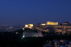 Acropoli alla notte Immagine Stock