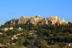 Acropoli di Atene dall'agora antico Fotografia Stock