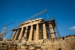 Acropoli di Atene, Grecia in costruzione Fotografia Stock Libera da Diritti