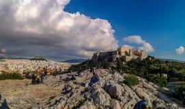 Acropoli di Atene una delle 7 meraviglie del mondo fotografia stock libera da diritti