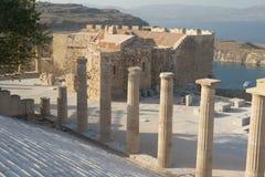 Acropoli di Lindos in isola greca Rhodos Fotografie Stock Libere da Diritti