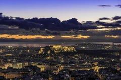 Acropoli ed Atene al tramonto, Grecia Fotografia Stock