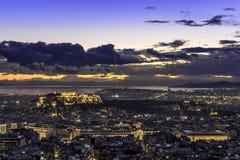 Acropoli ed Atene al tramonto, Grecia Fotografia Stock Libera da Diritti