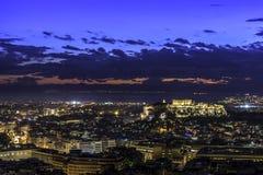 Acropoli ed Atene al tramonto, Grecia Fotografie Stock Libere da Diritti