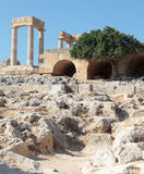 Acropoli Lindos Arkivfoto