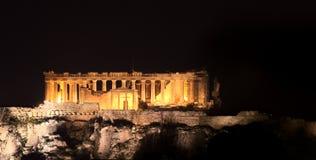 Acropoli nella notte Fotografie Stock Libere da Diritti