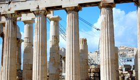 Acropolis. Upkeeping the remains of the Acropolis by making necessary repairs Stock Image