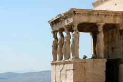 Acropolis. Temple at the Acropolis with view over Athens city Royalty Free Stock Photo
