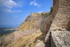 The acropolis of ancient Corinth royalty free stock photo