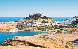 Acropolis in the ancient greek town Lindos. Rhodes island, Greece Stock Image
