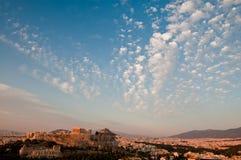 Acropolis antes do por do sol imagens de stock