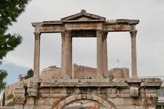 Acropolis through Arch of Hadrian Stock Image