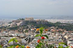 Acropolis, Athens. A view of the Acropolis of Athens, Greece, and the area of Plaka royalty free stock photo