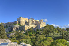 Acropolis in Athens as seen from Aeropagus Royalty Free Stock Photography