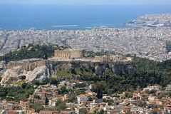 Athens Cityscape Greece. Acropolis Athens Cityscape From Mount Lycabettus Greece royalty free stock photo