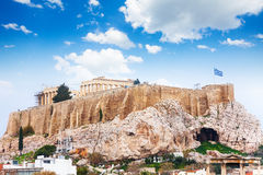 Acropolis of Athens from downtown in Greece Stock Photo