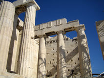 Acropolis Athens, Greece. Granite Columns at the entrance to the Acropolis in Athens, Greece Royalty Free Stock Image