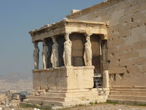 Acropolis of Athens, Greece. Caryatids, south porch, the Erechtheion royalty free stock photography