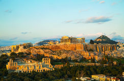 Acropolis in Athens, Greece in the evening Stock Photos