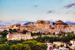 Acropolis in Athens, Greece in the evening Royalty Free Stock Photo