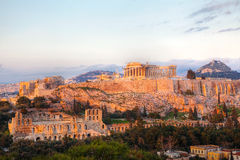Acropolis in Athens, Greece in the evening Stock Photo
