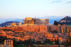 Acropolis in Athens, Greece in the evening Royalty Free Stock Image