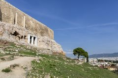 Acropolis, Athens, Greece. It is a main tourist attraction of Athens. Ancient Greek architecture of Athens in summer.Ruins of a. Famous landmark of Athens on stock photos