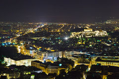 Acropolis and Athens in Greece at night Royalty Free Stock Image
