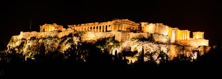 Acropolis of Athens, Greece. Night view royalty free stock images