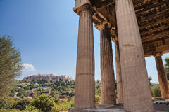 Acropolis in Athens, Greece. With Parthenon in the distance and part of Hephaistos temple in the foreground royalty free stock image