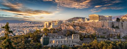 The Acropolis of Athens, Greece. With the Parthenon Temple during sunset stock photos